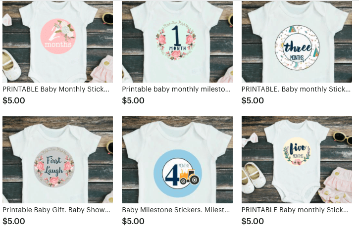 Baby milestone stickers on baby bodysuit in etsy shop