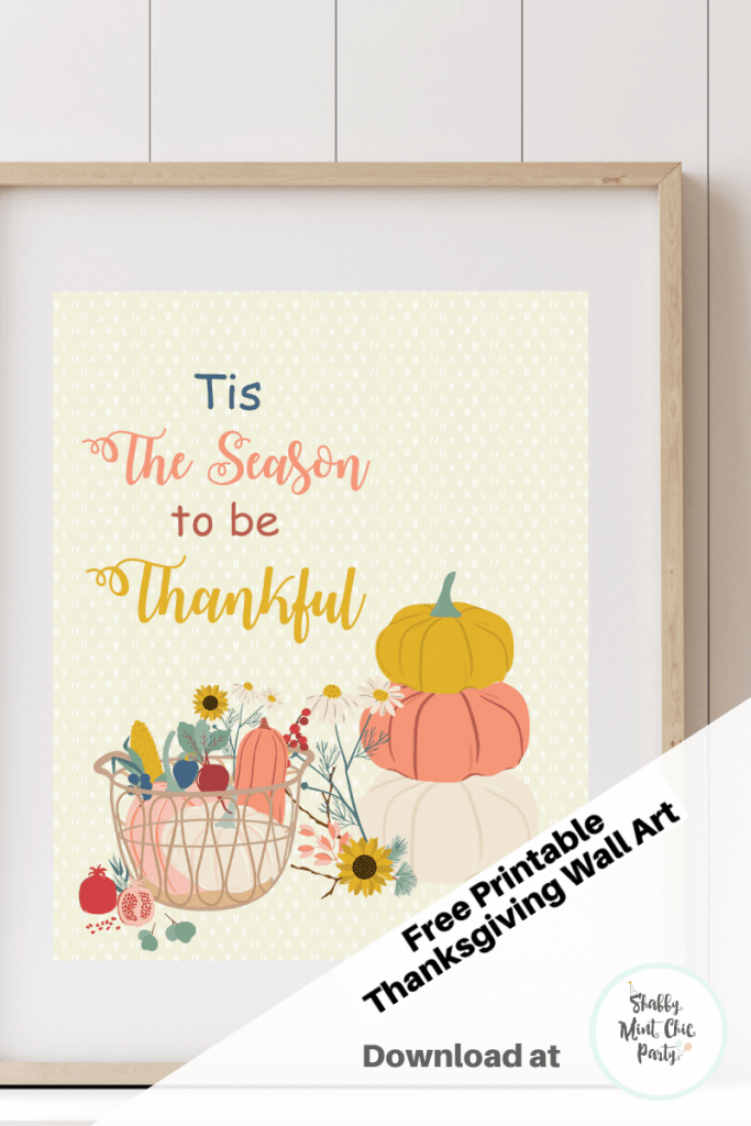 Pinterest pin of mockup of Tis the Season to be Thankful Thanksgiving Wall art