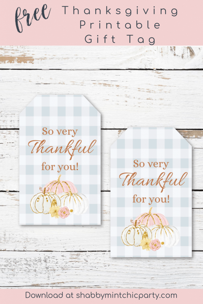 thanksgiving gift tag with pumpkins and the saying so very thankful for you