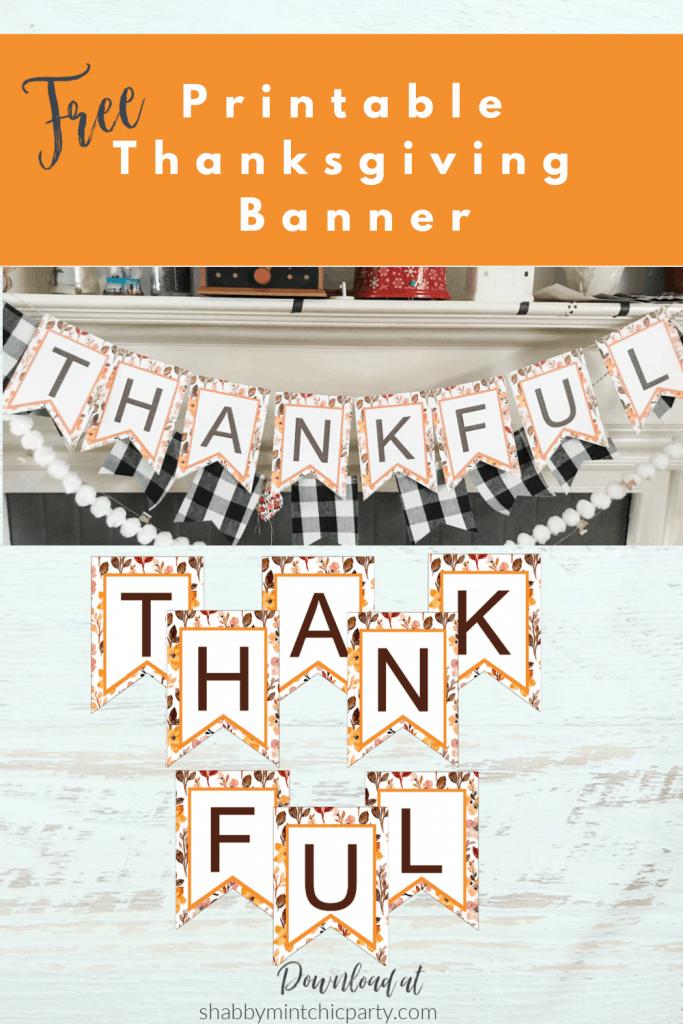 Thanksgiving banner over mantel 2