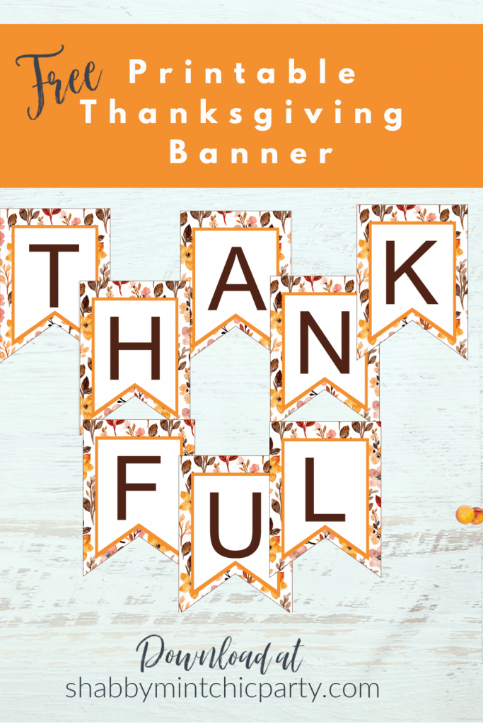 Thankful Thanksgiving printable banner