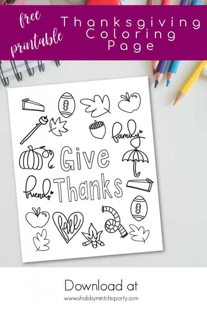 Thanksgiving coloring page freebie Give Thanks