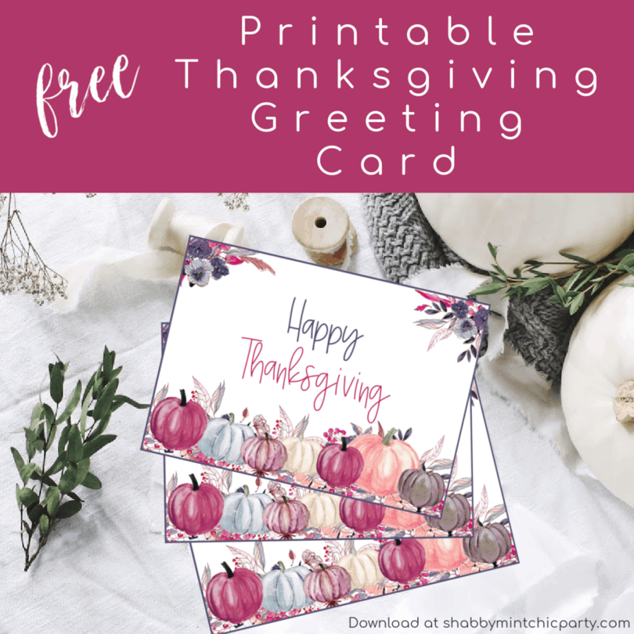 Thanksgiving greeting card with purple, pink, blue and white florals and pumpkins