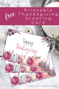 Thanksgiving greeting card with purple florals and pumpkins