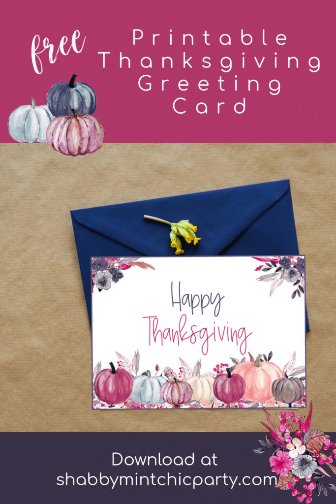 Thanksgiving greeting card with pumpkins and florals on top of envelope