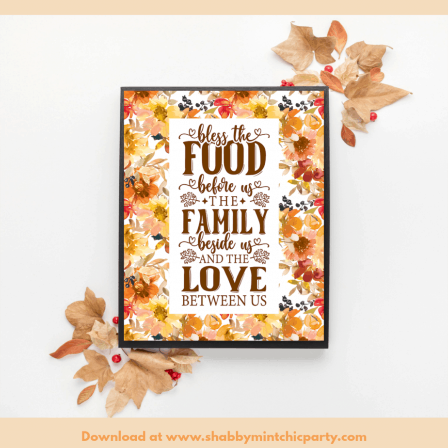 fall floral thanksgiving wall art