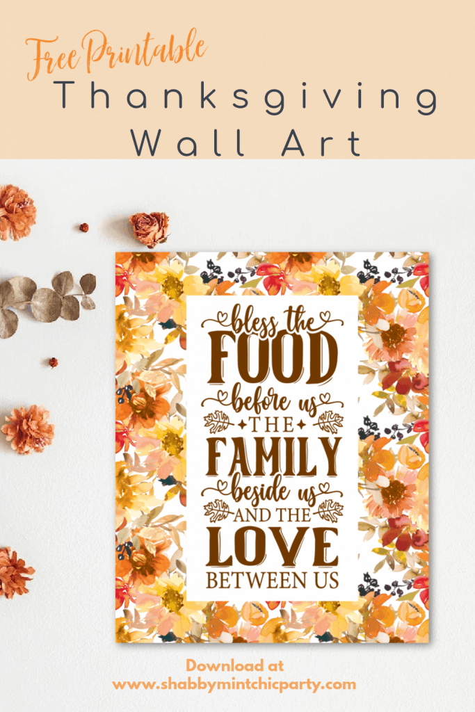 Thanksgiving wall art with fall florals
