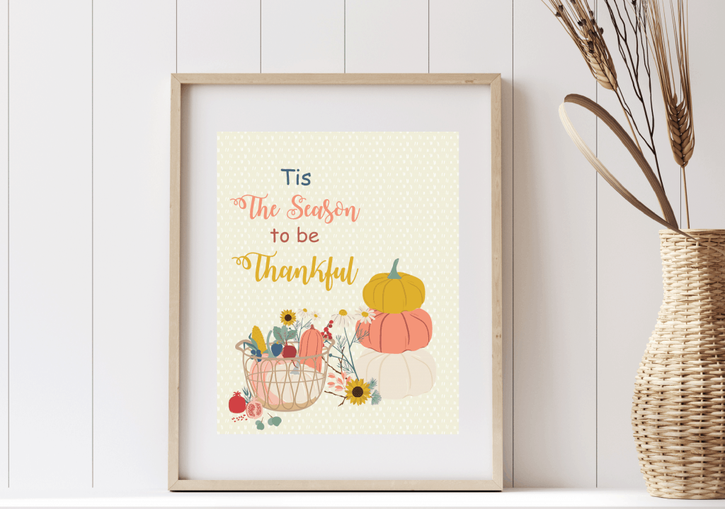 mockup of Tis the Season to be Thanksful Wall art
