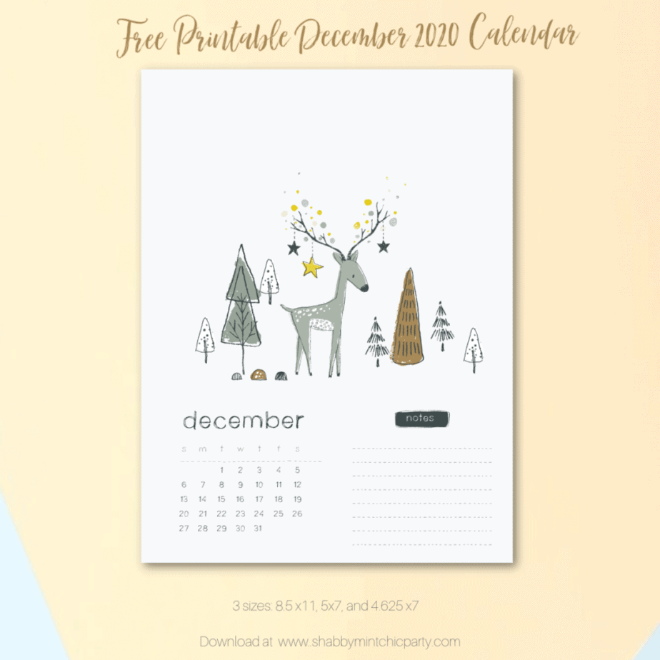 free december 2020 calendar with cute reindeer and trees