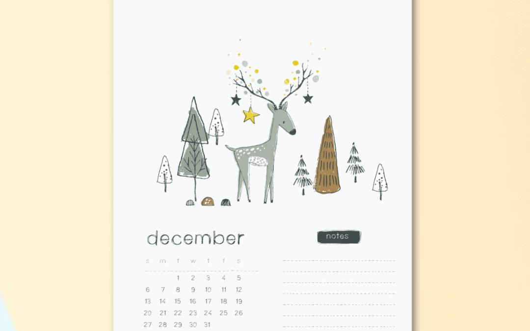 Cute Printable Reindeer December 2020 calendar