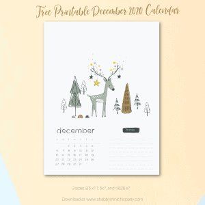 free reindeer december 2020 calendar with cute reindeer and trees