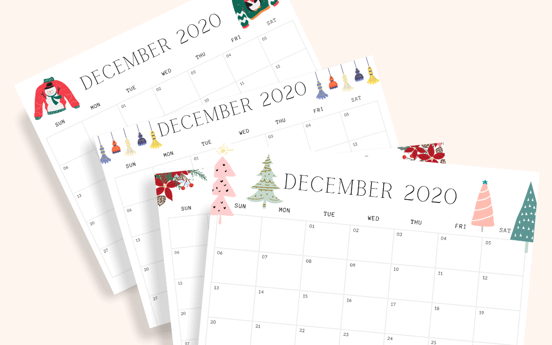 december 2020 free printable with 4 different designs