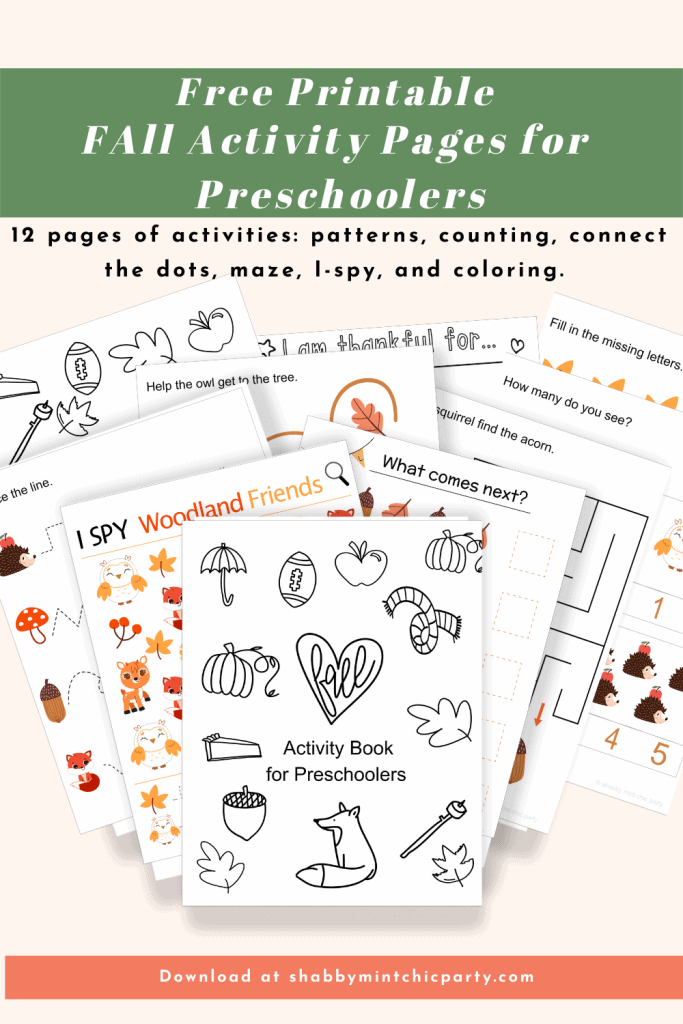 preschool fall activity book printable