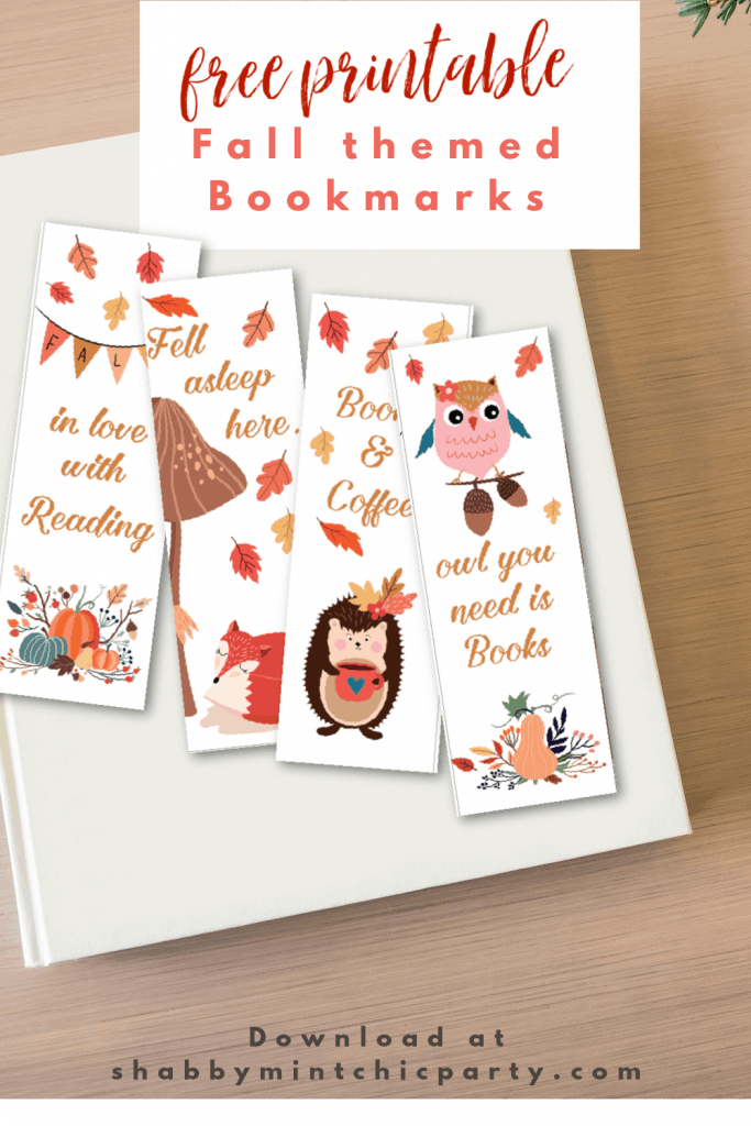printable bookmark fall themed woodland animals
