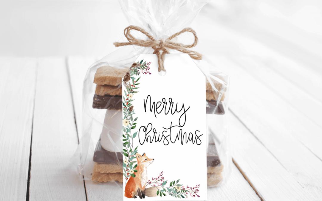 christmas gift tag fox