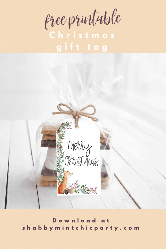 christmas gift tag with fox and winter foliage