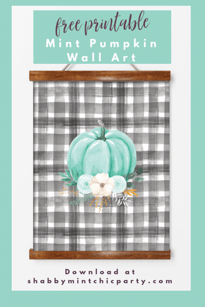 Fall free printable mint floral pumpkin with black and white buffalo check bacground