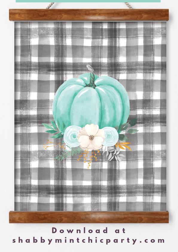 fall lfree printable mint pumpkin wall art