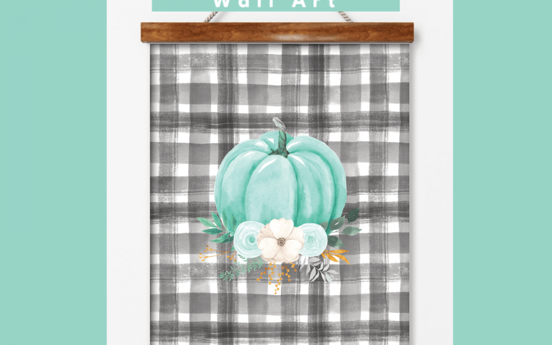 mint pumpkin with black and white buffalo check background wall art fall printable
