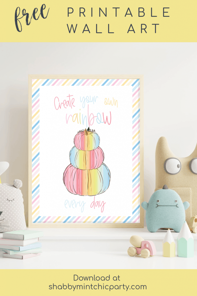 mockup nursery picture frame of a rainbow pumpkin saying create. your own rainbow every day