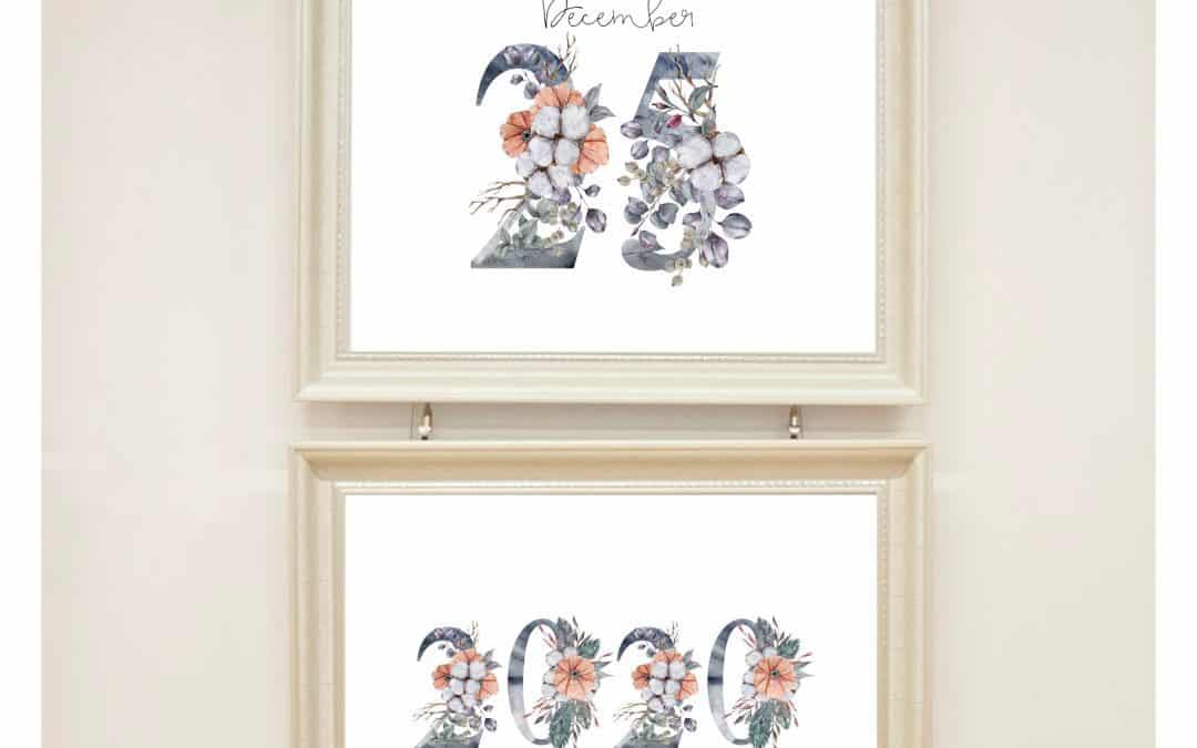 Winter floral Christmas wall art printable freebie