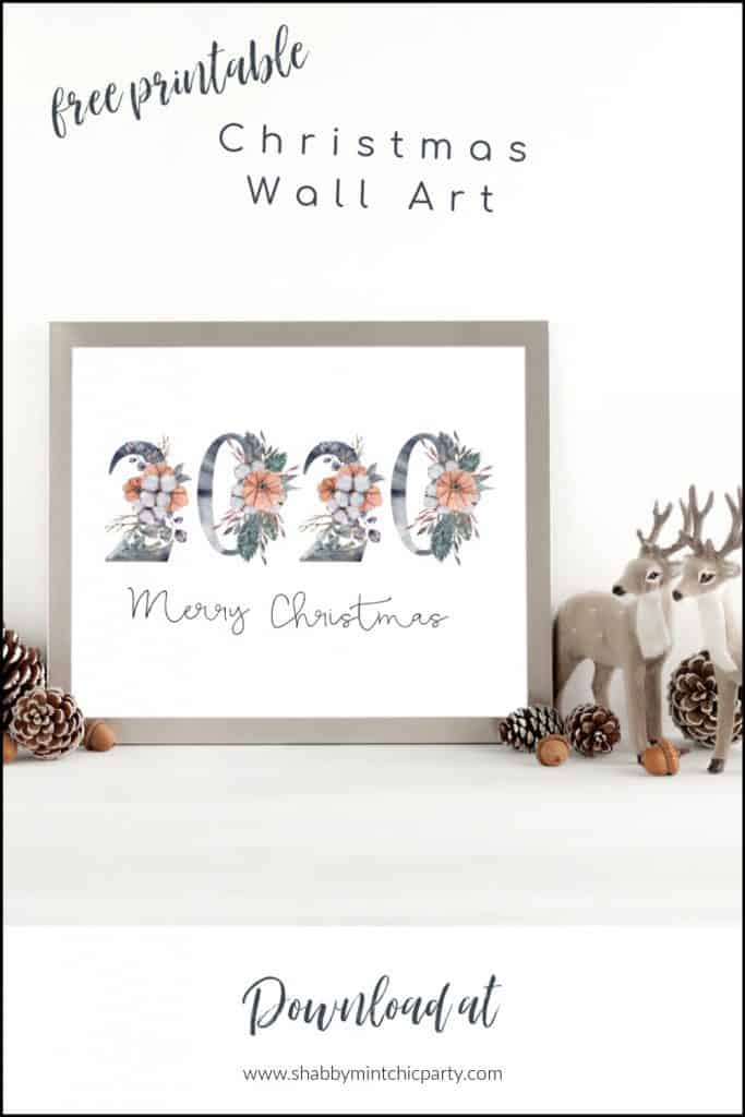2020 Merry Christma with winter florals