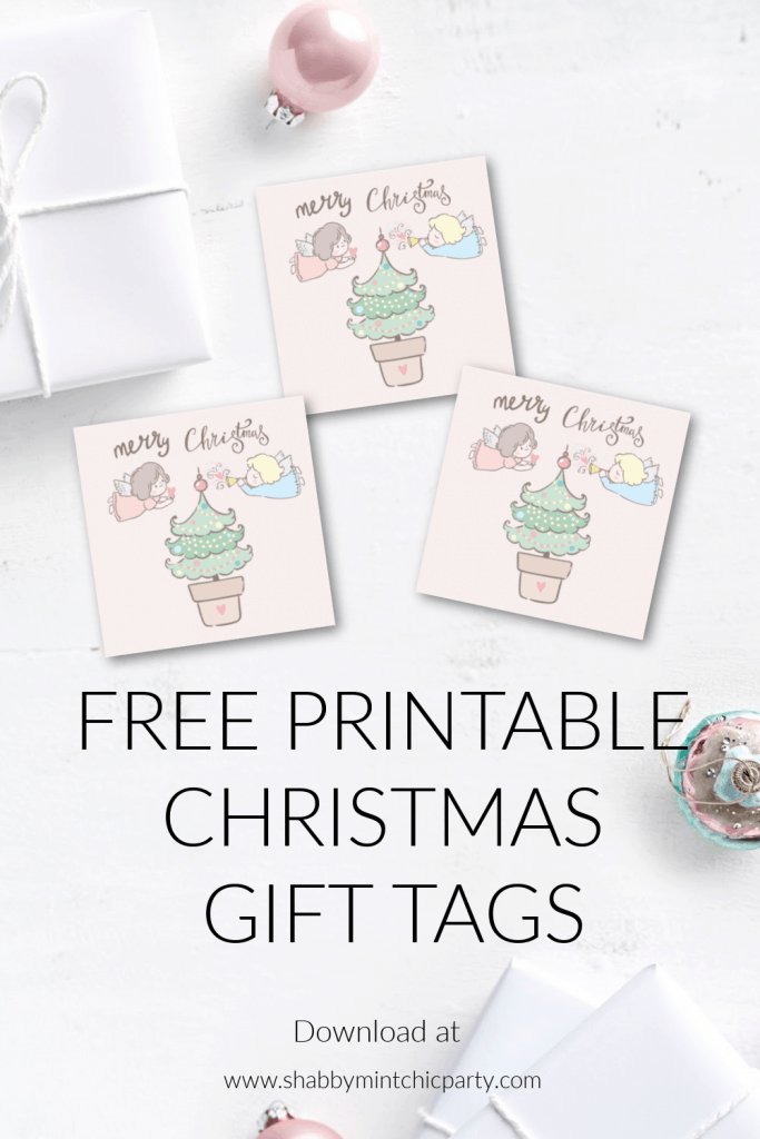 christmas gift tags with angels and tree