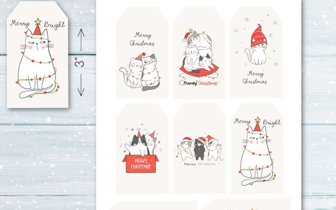 christmas gift tags with cat designs