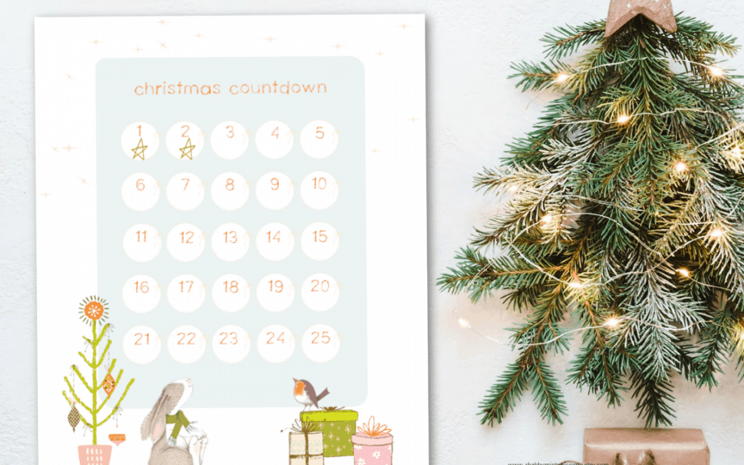 printable christmas countdown with cute woodland critters