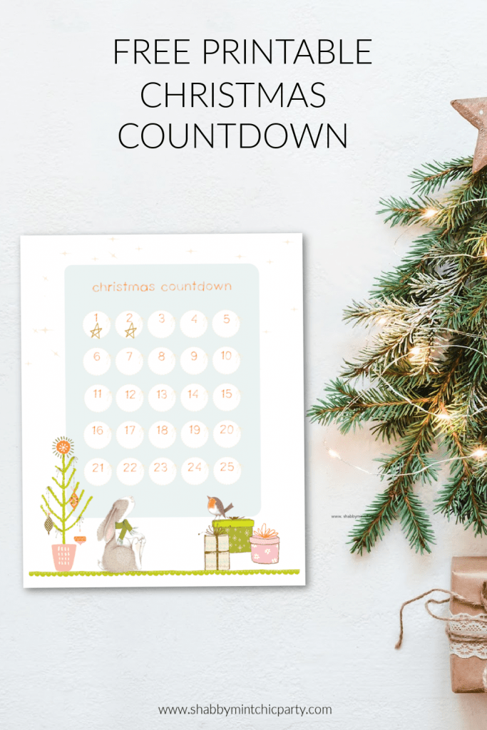 Printable christmas countdown with tree and woodland critters