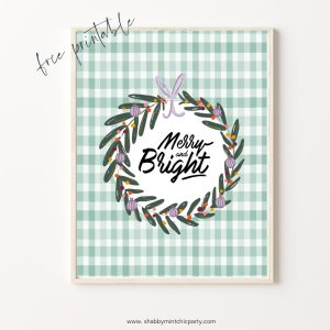 christmas wall art Merry and Bright printable