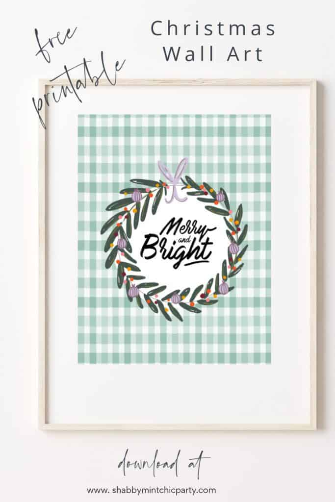 Christmas free printable Merry and Bright Wall art