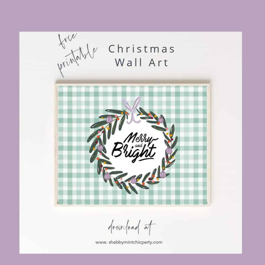 christmas wall art green checkered background Merry and Bright quote