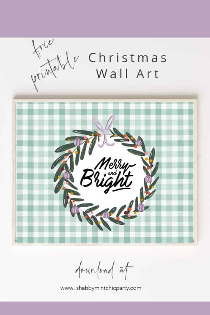 christmas wall art freebie merry and bright landscape size