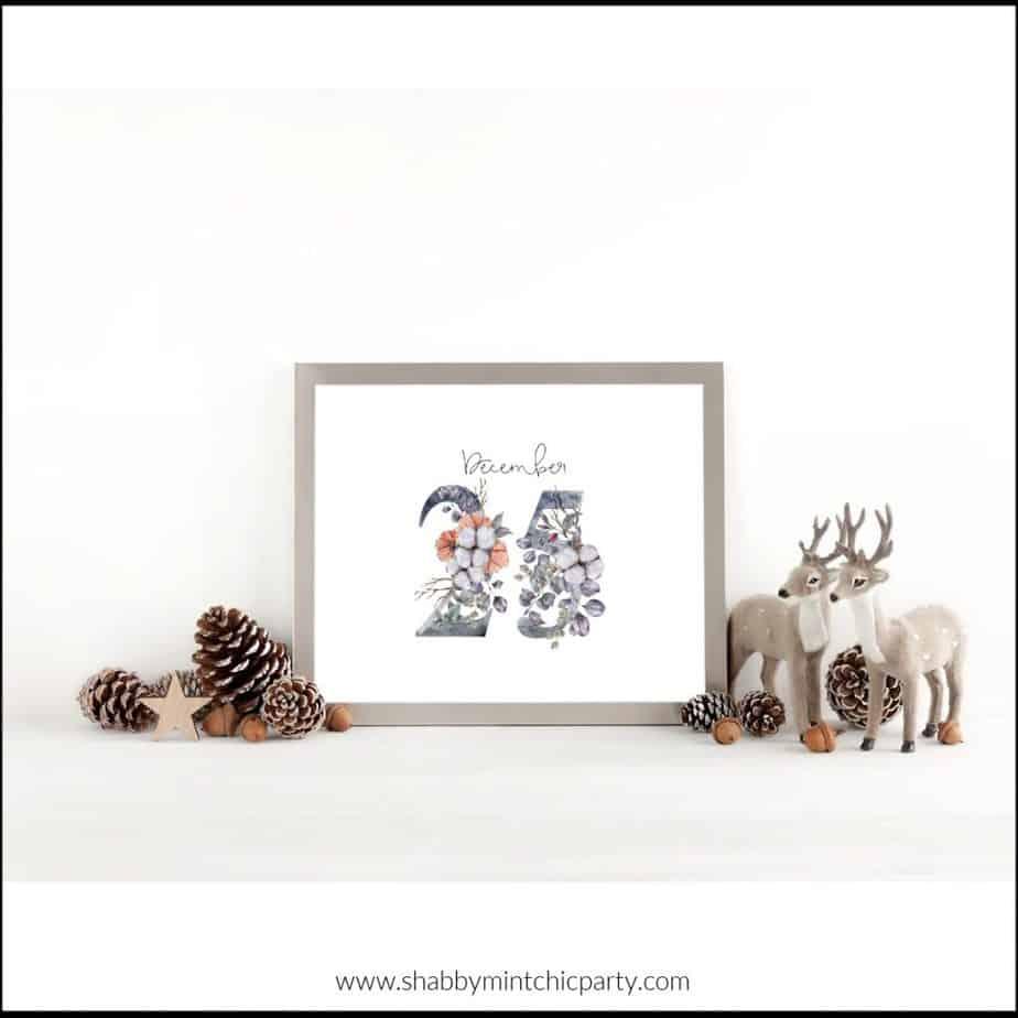 dec 25 wall art free printable