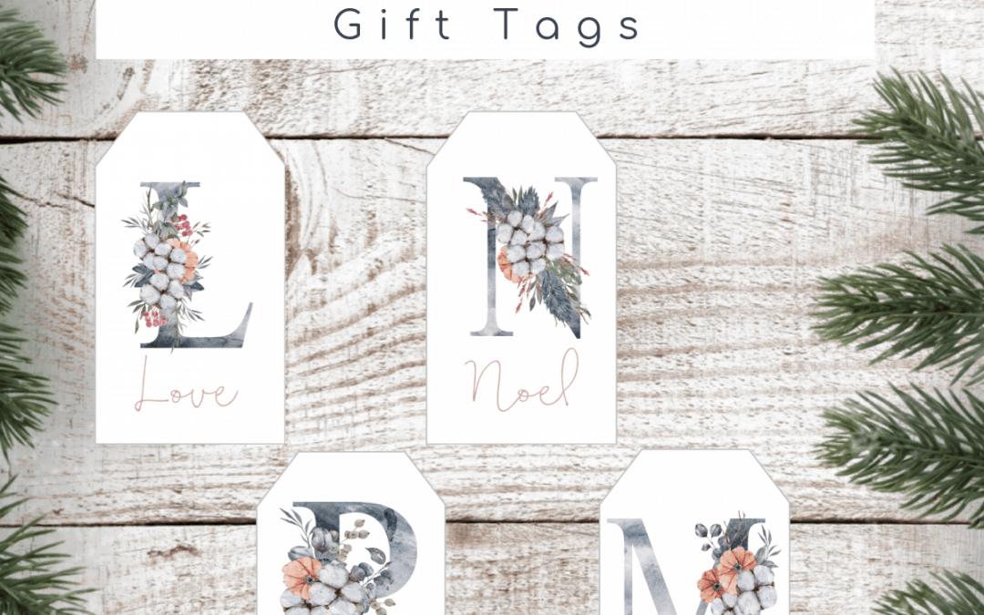 printable winter floral Christmas gift tags
