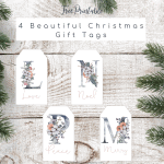 Free Printable Winter Floral Christmas Gift Tags