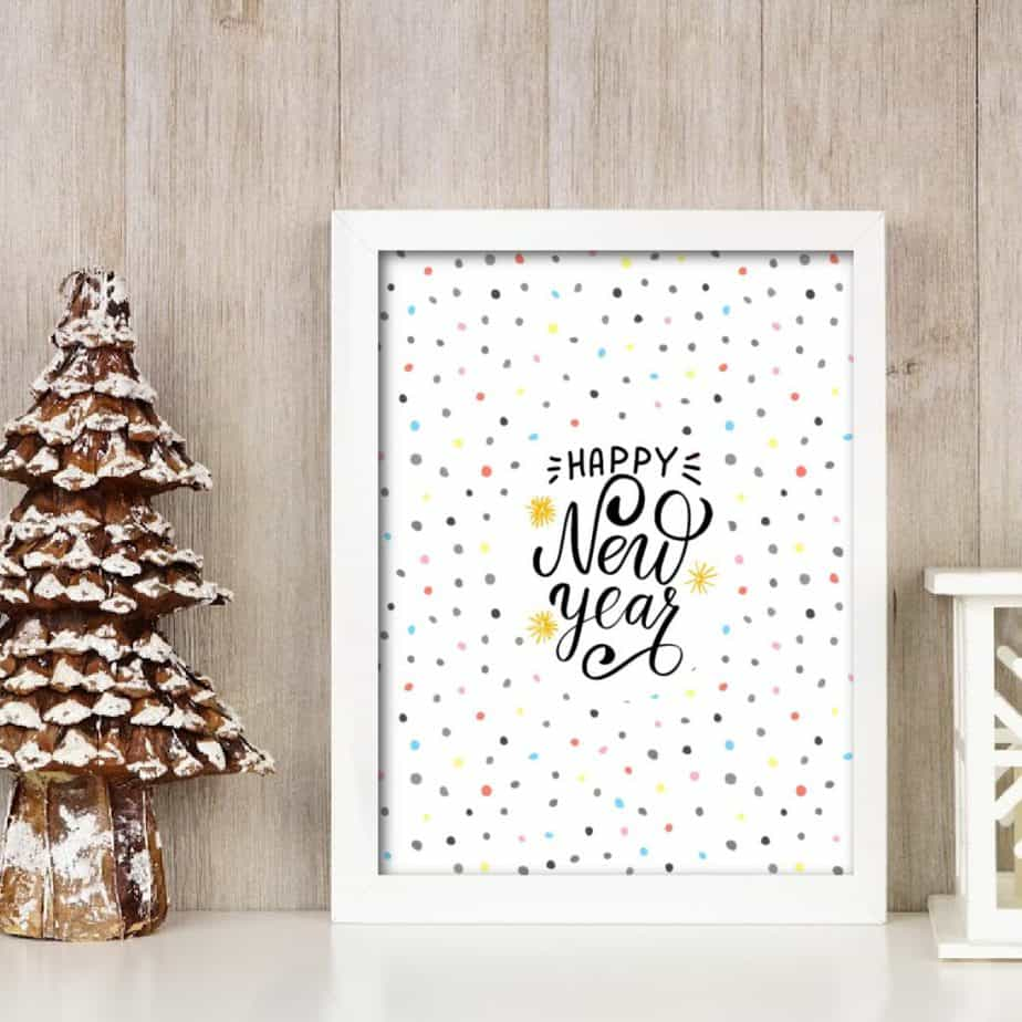 Happy New year wall art free printable polkadots