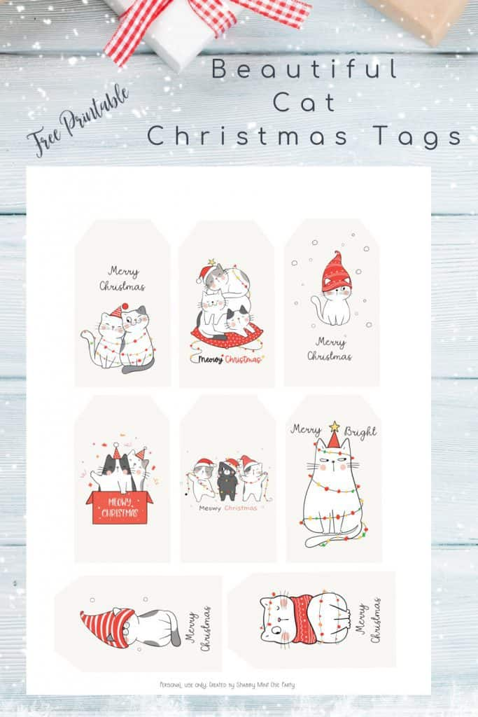 cat printable hristmas gift tags
