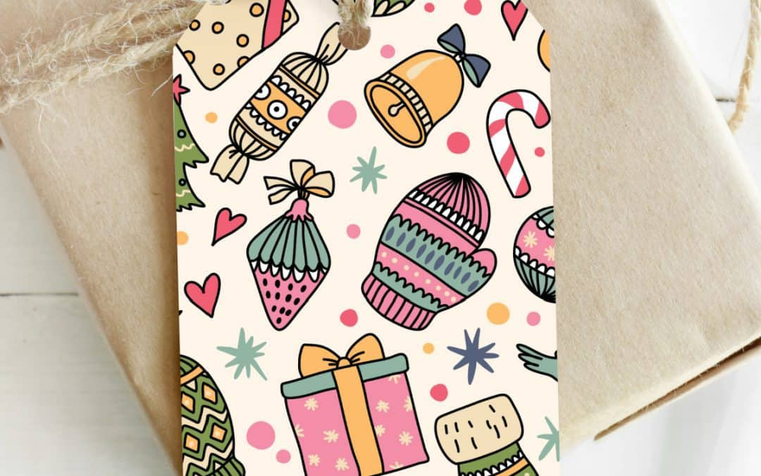 christmas gift tags vibrant colors on beige gift wrapped present