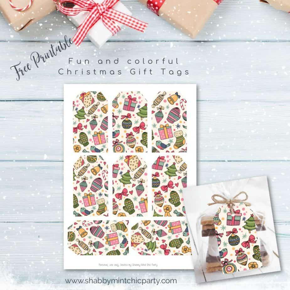 Colorful christmas gift tags printable freebie