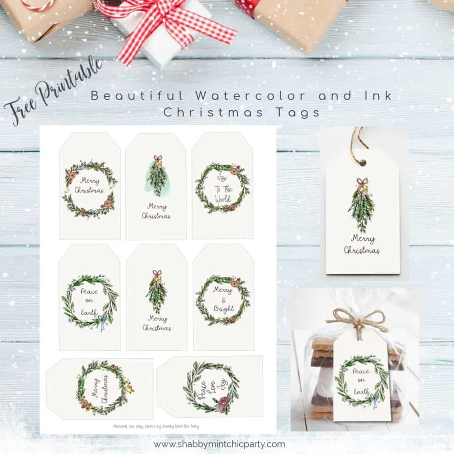 Christmas gift tags freebies watercolor wreaths
