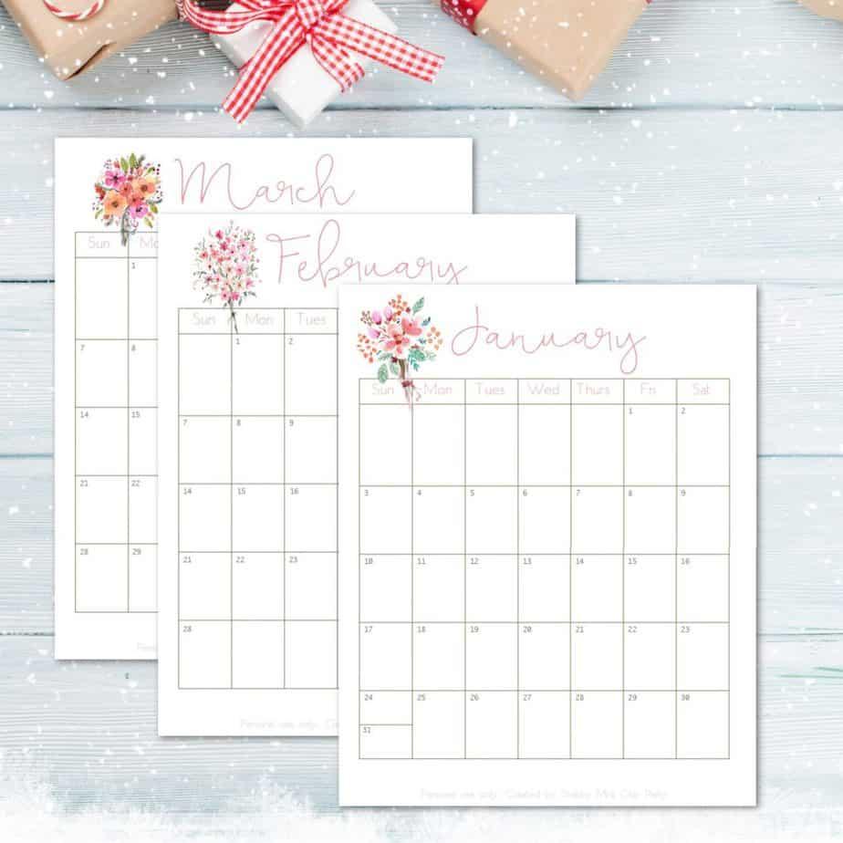 2021 printable calendar flower bouquets