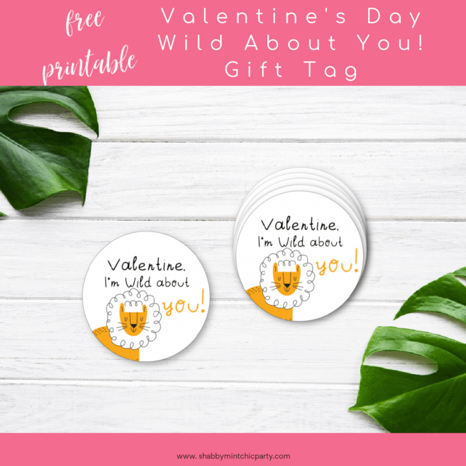 Wild about you Valentine's Day gift tag