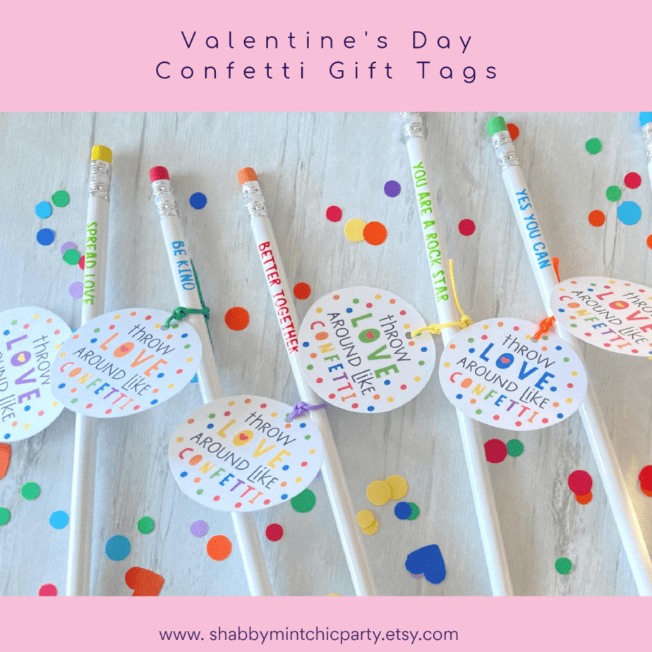 confetti gift tags pencil valentine's day gifts