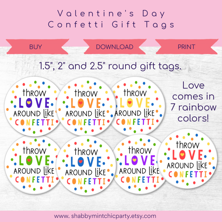 confetti gift tag with the words Throw Love around like confetti