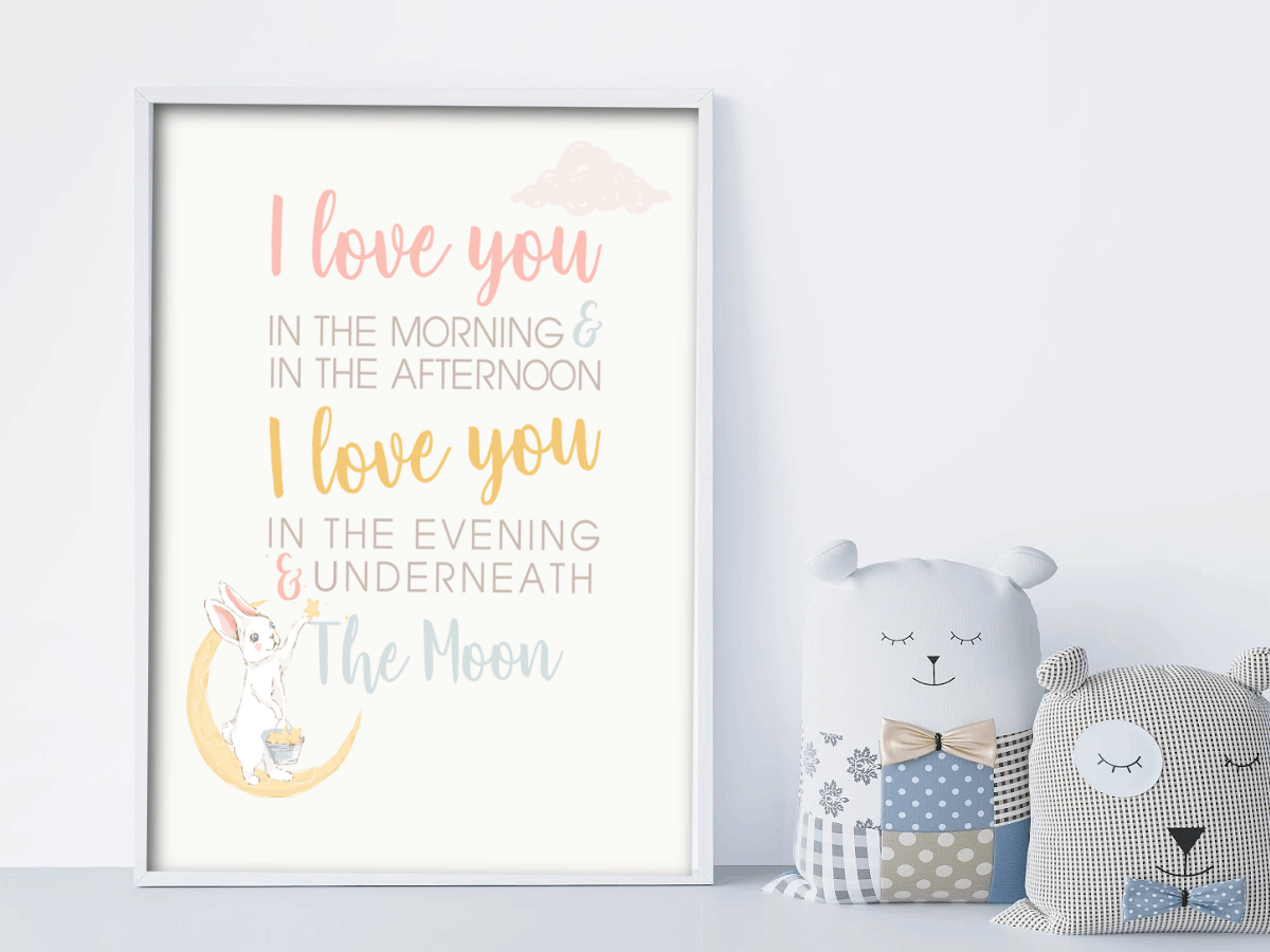 nursery wall art printable freebie i love you in the morning