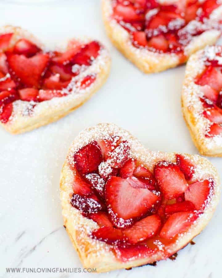 Strawberry heart puff pastry valentine's day treat