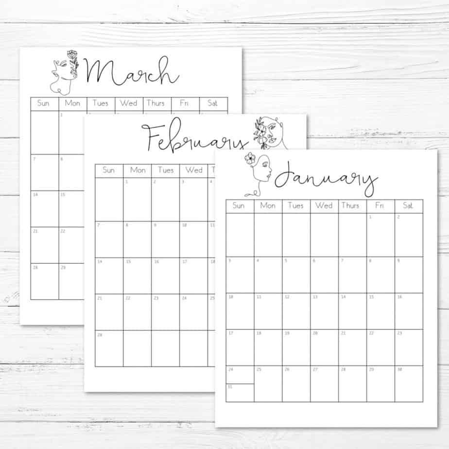 2021 printable calendar women line art