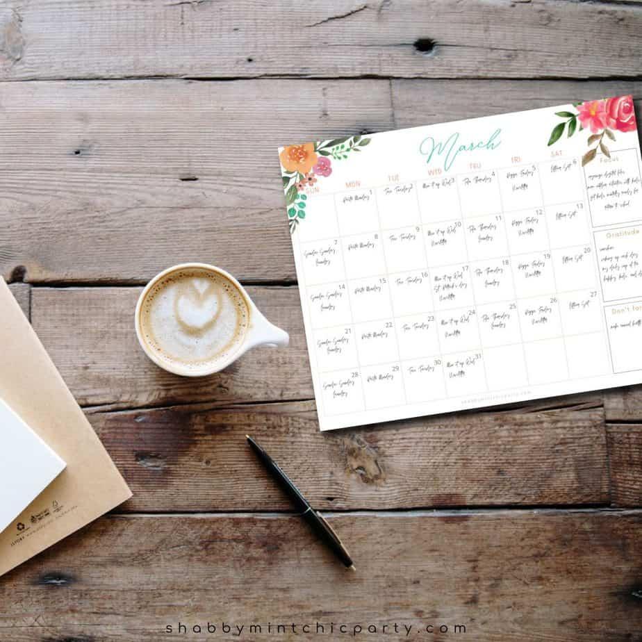 sample of March 2021 calendar freebie